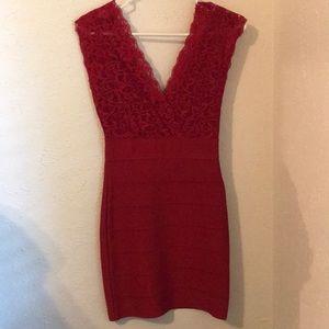Bebe Red Bandage Bodycon Dress